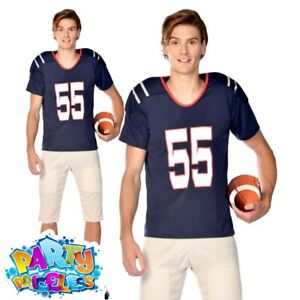 Adult American Football Quarterback Costume Mens USA Sports Fancy Dress Outfit