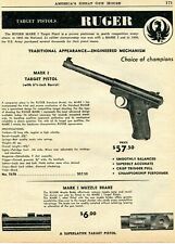 1961 Print Ad of Ruger Mark I Target Pistol & Muzzle Brake