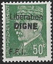 LIBERATION..RRR...DIGNE ..50c**vert..Dle Sge..Signé...