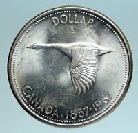 1967 CANADA Confederation Founding OLD Goose Genuine Silver Dollar Coin i83390