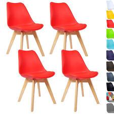 4er Set Esszimmerstühle Design Esszimmerstuhl Küchenstuhl Holz Rot BH29rt-4