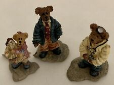 Boyds Bearly-Built Villages Bearly Well Clinic #19508-2 Dr Stock, Jill & Pop Set