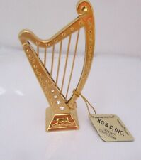Figurine/Ornament  HARP 24k gold plated- Austrian crystals --clear