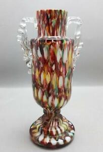ANTIQUE VICTORIAN ART NOUVEAU c1900 BOHEMIAN WELZ SPLATTER GLASS TROPHY VASE