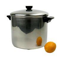 Vintage Revere Ware 8 Quart Stainless Steel Stock Pot w/ Heavy Clad Bottom w Lid