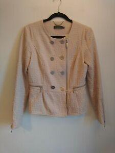 Ladies Mint Velvet Dusky Pink Jacket Size UK 8 Biker Style Blush Peplum Jacquard