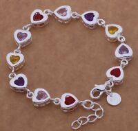 Heart Bracelet 925 Sterling Silver Crystal Charm Bangle Fashion Jewelry