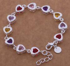 Heart Bracelet 925 Sterling Silver Crystal Charm Bangle Fashion Jewelry