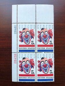 US #1309 Plate Block of 4 American Circus Clown Mint NH