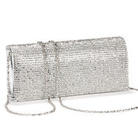 Shimmering Diamante Crystal Evening Clutch Purse Wedding Prom Women Bag Silver