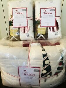 Pottery Barn Kids Merry Santa Full Queen Quilt Euro Shams Christmas Bedding New
