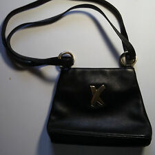 PALOMA PICASSO Black Leather Shoulder Bag, With Gold Tone X Decor, Italy