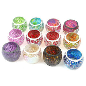 Candle Tea Light Holder Glass Handmade Candle Stands Mosaic Style Home Deczh