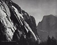 1950s Vintage ANSEL ADAMS Half Dome Rock Cliffs Yosemite Valley Photo Art 11X14