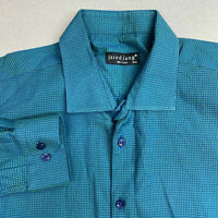 Jared Lang Button Up Shirt Mens 2XL Blue Green Long Sleeve Cotton Dotted Casual
