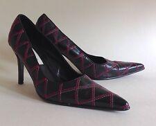 Dune Black Stiletto Leather Court Shoes With Cerise & White Stitch Work UK 4