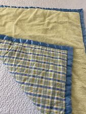 "VINTAGE  Handmade Yellow Chenille & Plaid Cotton QUILT Hand Tied 45"" x 37""   #58"