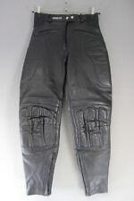 ASHMAN BLACK COWHIDE LEATHER BIKER TROUSERS SIZE 12 - WAIST 28IN/INSIDE LEG 28IN