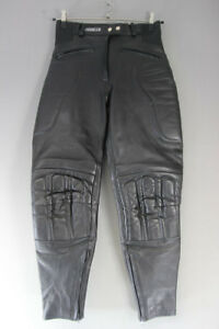 ASHMAN BLACK COWHIDE LEATHER BIKER TROUSERS SIZE 12 - WAIST 28IN/INSIDE LEG 28IN