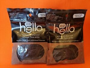 2 Hello ACTIVATED CHARCOAL INFUSED FLOSS PICKS 160-ct NATURAL FRESH MINT FLAVOR