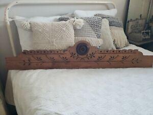 Antique Architectural Wood EASTLAKE Carved PEDIMENT HEADER Mantel Salvage 4Foot!