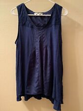 LC Lauren Conrad Women's Blue Crochet Detail V-Neck Sleeveless Blouse Size L