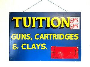 Vintage Hand Painted Sign Clay Shooting Cartridges Advertising