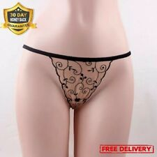 Sexy Lingerie Cosplay Embroidery Sheer Lace Mesh Floral G String Thong T Back