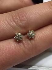18 KT ORO GIALLO 0.25 KT SRC Diamanti Fiore Margherita Orecchini a Perno Cluster GOY470
