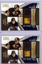 (2) Clyde Bulldog Turner Sid Luckman 09 National Treasures LAUNDRY TAG PATCH Lot