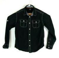 Carbon Mens Classic Fit Black Long Sleeve Button Front Shirt Size Large