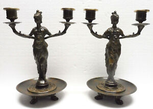 Superbes CHANDELIERS CANDLESTICKS bronze F. SOUCHAL anthropomorphes XIXème