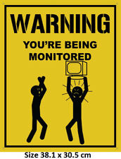 Warning You Are Being Monitored - Security Sign 30.5x38.1cm   Metal Tin Sign