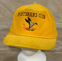 VTG Sportsmans Club Adult OSFA Strapback Corduroy Rope Hat Cap Duck Hunt Goose