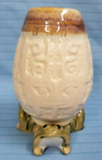 """Frogs Vase Ceramic Pottery Figurine Statue 5"""" Tall Brown Green"""