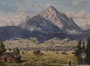 Signed Otto Schultes - Village IN The Alps IN Oberbayern/Swabia