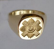 New 18ct Gold SCOTS GUARDS Regiment Seal Style Signet Ring. Excellent Quality.