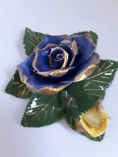 NEW CERAMIC BLUE YELLOW & GREEN ROSES WALL HANGING