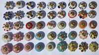 Ceramic knobs pulls handles for doors drawers cupboard cabinet wardrobe - brass