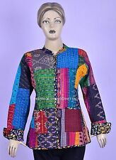 Indian Handmade Vintage Kantha Quilt Jacket Reversible Patchwork Jacket Coat