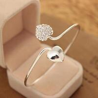 1PC Crystal Rhinestone Double Heart Open Bracelet Bangle Ladies Valentine's Gift