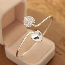 1pc Lady Crystal Rhinestone Double Hearts Open Cuff Bangle Bracelet Fashion Gift