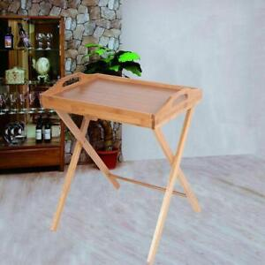 Bamboo Wooden Tray Butler Table Wooden Color Serving Folding