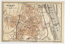 1906 CITY MAP OF WORMS / RHINELAND-PALATINATE / RHEINLAND-PFALZ / GERMANY