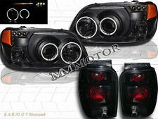 98-01 FORD EXPLORER CCFL HALO RIMS BLACK PROJECTOR HEADLIGHTS + TAIL LIGHTS