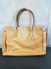 Tori Burch Brody Bark Tan Leather Tote 3 Compartments Side Zippers