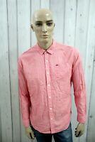 TOMMY HILFIGER Camicia Uomo Shirt Casual Cotone Manica Lunga Chemise Taglia L