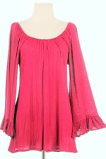 Red ruffle long tunic top shirt blouse Size Small Valentines Day