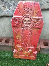 concrete garden ornament head stone RIP skeleton n goth