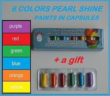 6 PEARL SHINE PAINTS FOR DYE PAINTING COLORING EASTER EGGS + GIFT